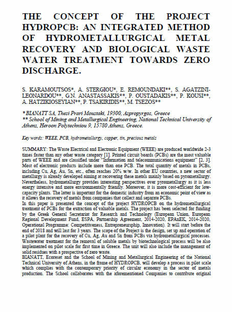 The concept of the project HYDROPCB: An integrated method of hydrometallurgical metal recovery and biological waste water treatment towards zero discharge.
